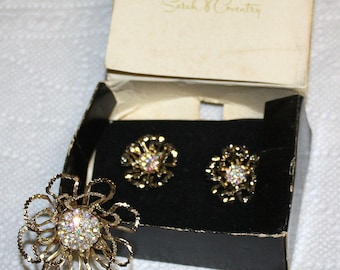 Sarah Coventry ALLUSION Gold Tone Aurora Borealis Rhinestone Pin and Clip Back Earrings 1968 AB RS Set Sarah Cov