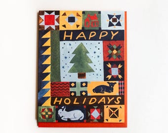 Happy Holidays Quilt Card / Set of 8