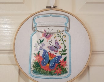 Embroidered butterfly jar