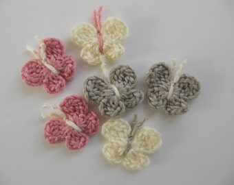 Crocheted Butterflies - Gray, Cream and Pink - Bamboo Yarn - Crocheted Butterfly Embellishments - Crocheted Butterfly Appliques - Set of 6