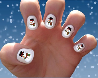 Snowman // Snowman // Christmas // St. Nick // Holidays // Winter  Nail Decals Transfer Nail Stickers //