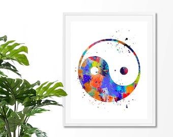 Yin Yang #3 Watercolor Art Print , Yin Yang Print, Yin Yang Poster,  Meditation Art, Yoga Art, Taoism Watercolor Art, Giclee, Zen decor