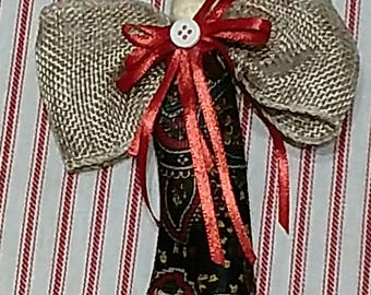 Recycled Necktie Clothespin Angel Christmas Ornaments