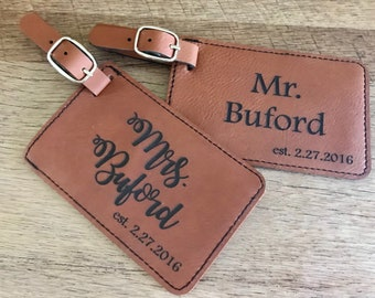 SALE Set of 2 Engraved luggage tags, leather luggage tag, wedding shower gift, leather tag, engraved leather tag, bride and groom gift