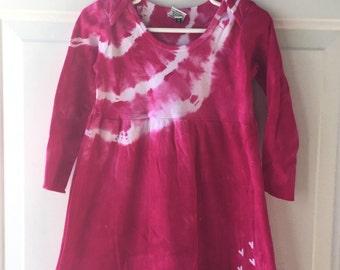 Pink Train Dress, Girls Train Dress, Long Sleeve Dress, Hot Pink Girls Dress, Tie Dye Train Dress, Tie Dye Dress, Empire Waist Dress (2T)
