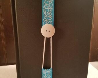 Custom Made Ribbon Bookmark - Blue swirls