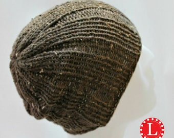 Loom Knitting Pattern Hat Mens Womens Slouchy Beanie Skull Cap Brimless with Video Tutorial