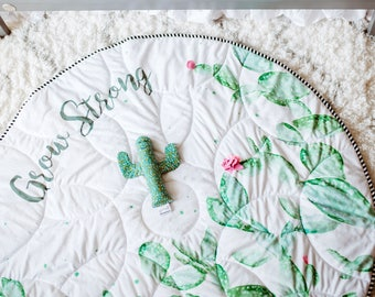 Baby play mat, CACTUS, activity mat, round baby mat, padded mat, floor mat, baby shower gift, photo prop, large baby mat, kid room decor