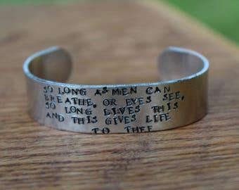 Sonnet 18 - William Shakespeare metal stamped 5/8 inch cuff bracelet - Literary Jewelry