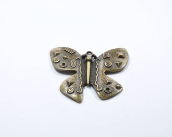 BR138 - 1 large Butterfly charm metal color bronze