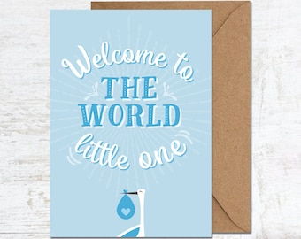 Welcome to the World Card, Baby Boy Card, New Baby Card, Congratulations Baby Card, Cute Baby Boy Card, Welcome Baby Boy Card, New Arrival