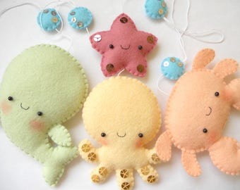 Felt PDF pattern - Four cute sea creatures - octopus, whale, starfish and crab - felt ornaments, baby crib mobile