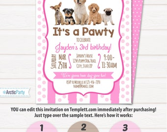 Dog party invitation etsy puppy birthday invitation dog birthday party invitations puppy birthday invitations dog themed party filmwisefo Choice Image