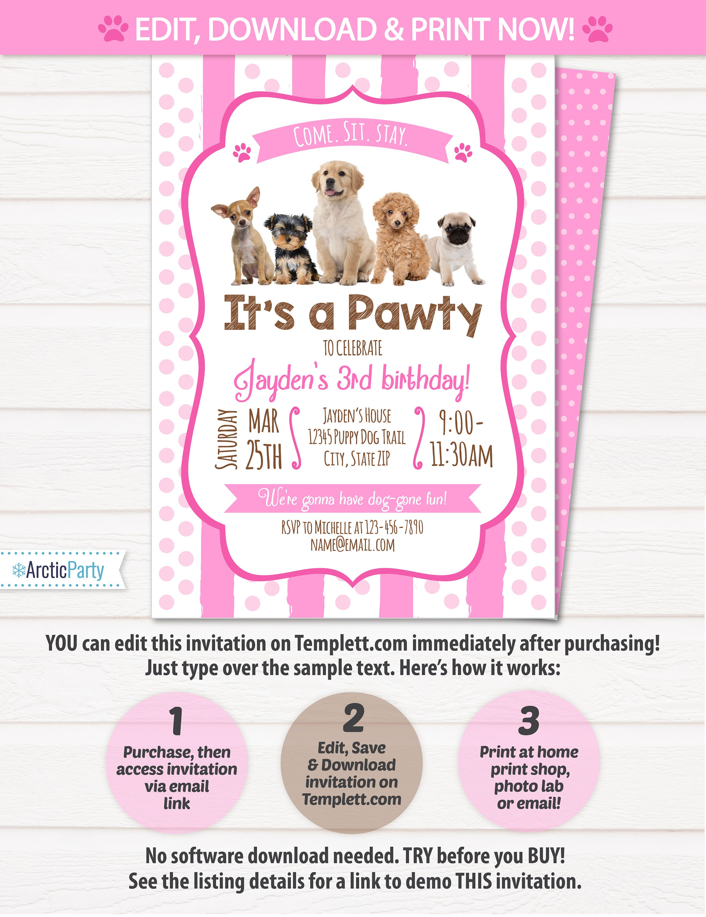 Puppy Birthday Invitation Dog Birthday Party Invitations