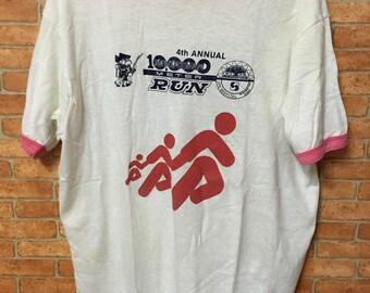 Vintage 80s Adidas Sneakers Run Marathon Tshirt Sport Feet