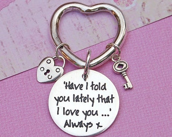 Handmade Personalized Silver Heart Charms Keyring