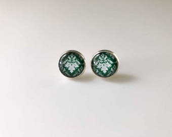 Stud Earrings, Handmade Glass Cabochon, 12mm Damask silver plated stud back earrings
