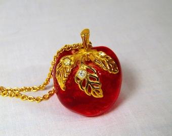 Vintage Red Apple Lucite Avon Necklace Teacher Back to School