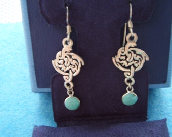 Sterling Silver Celtic Style Earrings with Turquoise