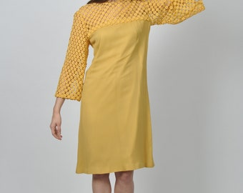 1960s Canary Yellow Rayon Crepe and Floral Lace Shift dress  | vintage 1960s dress | yellow rayon crepe floral lace 60s shift dress