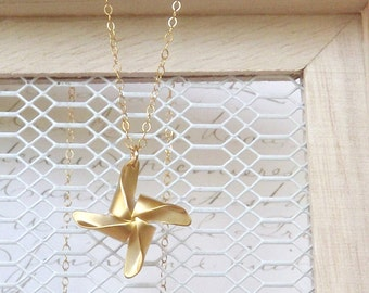 Gold Pinwheel Necklace