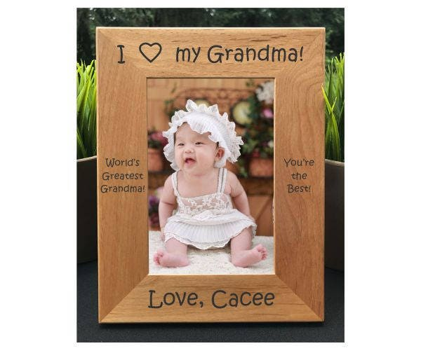 I Love my Grandma // Personalized Engraved Photo Frame // Picture ...