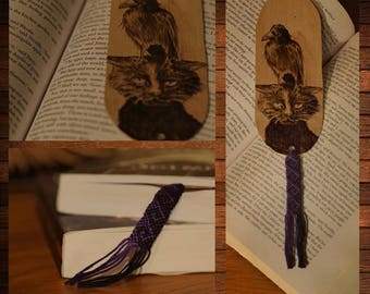 handmade wooden bookmark pyrography cat and crow