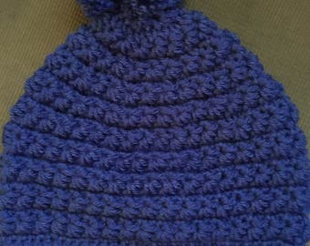 Royal Blue Winter Hat with Pom-pom