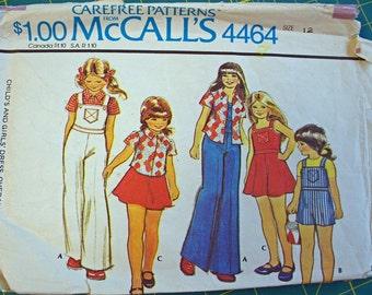 Vintage McCalls Girls pattern dress, overalls,blouse 1975