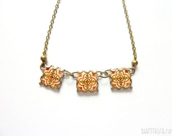 Floral tile necklace with vintage drawings.BARCELONA Brown, orange, yellow