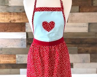Red Apron, Polka Dot Apron, Valentines Apron, Aprons for Women, Women's Apron, Heart Apron