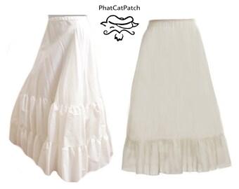 Petticoat, White or Cream Custom Made petticoat, long cotton petticoat, Hippie skirt, Civil war costume, Historical plus size petticoat