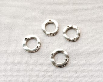 Antique Silver Textured Pewter 2 hole circles - 4 pcs