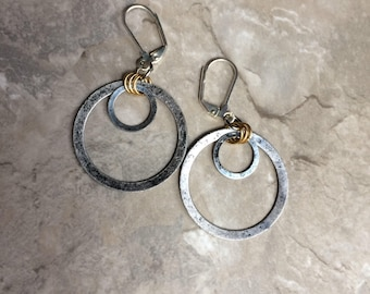 Silver metal hoop earrings
