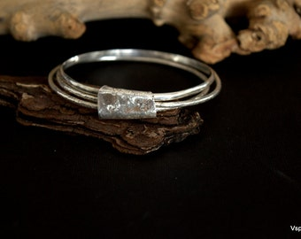 rustic silver bangles handmade artisan jewelry wabi sabi  recycled silver Eco friendly set