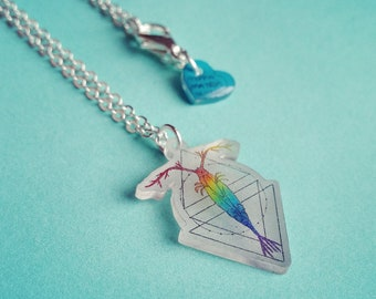 Multicolour statement geometric Copepod necklace featuring rainbow plankton design is the perfect science nerd gift for any marine biologist