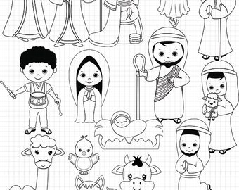 Nativity Line Art, Digital Stamps, Black and white, Christmas coloring, Jesus clipart, Digital stamp,