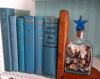 Beautiful Lot of 6 Shades of Blue and Turquoise  Books Water and Sky colors Teal Sea Foam Green Farmhouse Home Decor Book Stack Display