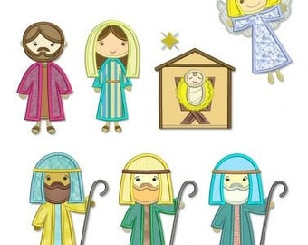 NATIVITY SET Applique  4x4 5x7 6x10 Machine Embroidery Design CHRISTMAS angel Mary wise men baby Jesus