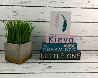 Dream Big Little One - Be Brave Little One - Wood Blocks - Shelf Sitter - Stackable Blocks - Tribal Nursery - Boho Nursery - Woodland Nurser