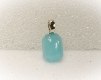 Gemstone Pendant Statement Necklace Aqua Quartz Pendant With Large Hole Silver Plated Bail - 16075