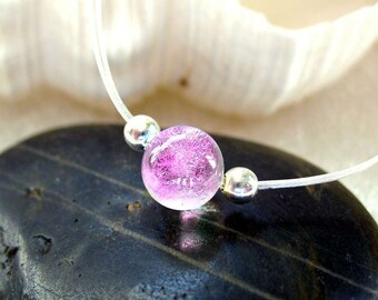 Delicate Dichroic Glass Mermaid Tear Choker in Translucent Tropical Magenta Pink, Dainty Delicate, Sparkling Pink, Beach Wear, Small Choker