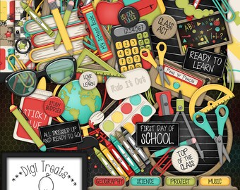 School Digital Scrapbook Kit.  School Themed Scrapbook Kit, Digital Papers, Clip Art, Words and More. **INSTANT DOWNLOAD***