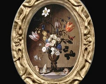 Oval Floral Still Life Miniature Dollhouse Flower Art Picture 6676
