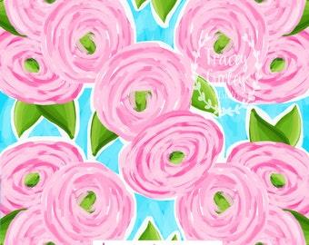Ranunculus Print digital paper, pink floral watercolor digital paper, pink and green, scrapbook paper, instant download, preppy paper