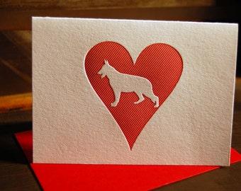 Heart: German Shepherd, letterpress card