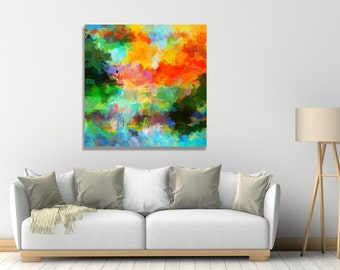 Landscape Abstract Painting, Giclee Canvas Print of Original Abstract Oil Painting Vivid Abstract Wall Art, Abstract Art Print as Wall Decor
