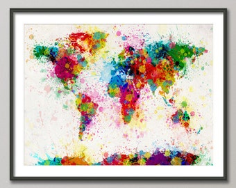 Paint Splashes Map of the World Map, Art Print (168)