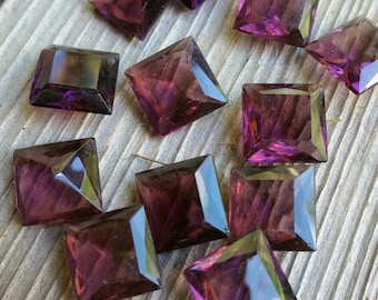 Amythest czech square glass Cabochons, 12 x 12mm