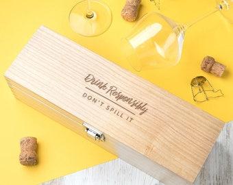 Drink Responsibly Funny Birthday Gift Alcohol Box